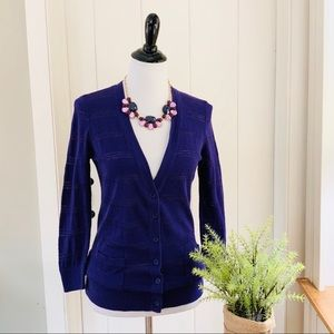 LOFT Purple Cotton V-Neck Cardigan Sweater